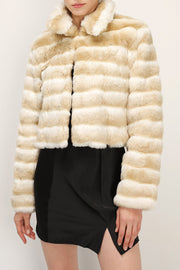 storets.com Raegan Striped Cropped Faux Fur Jacket