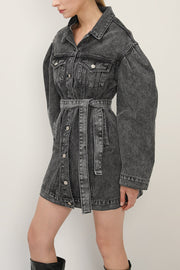 Phoebe Puff Sleeve Denim Dress w/Belt