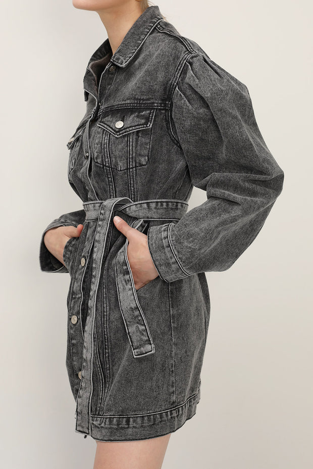 storets.com Phoebe Puff Sleeve Denim Dress w/Belt