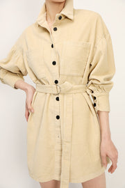 Emma Cord Shirt Dress w/Belt