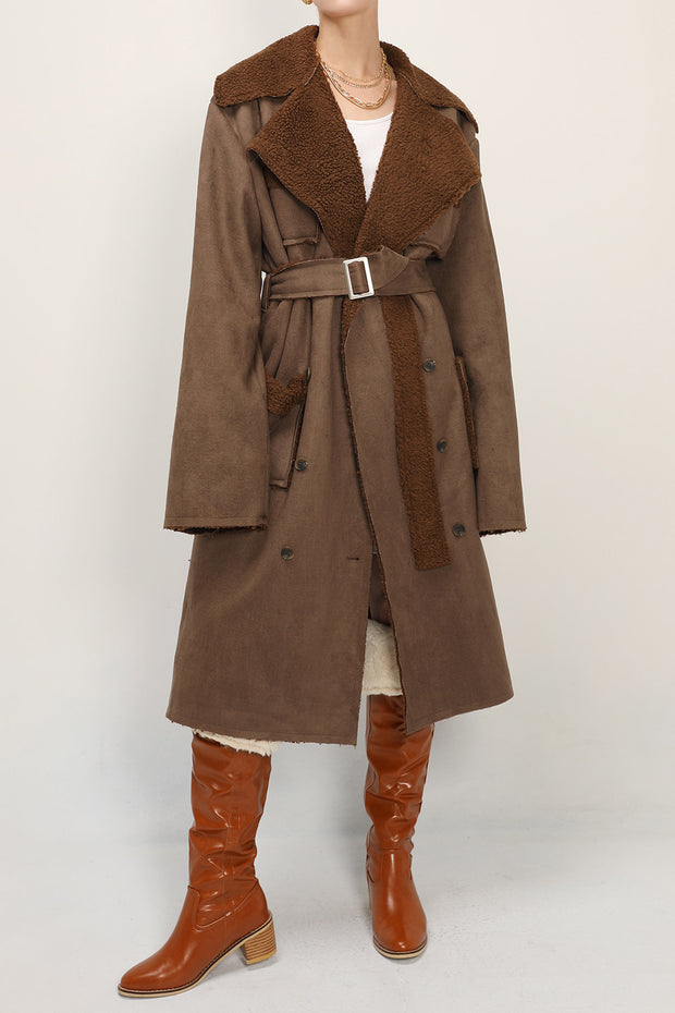 storets.com Audrey Shearling Belted Faux Leather Coat
