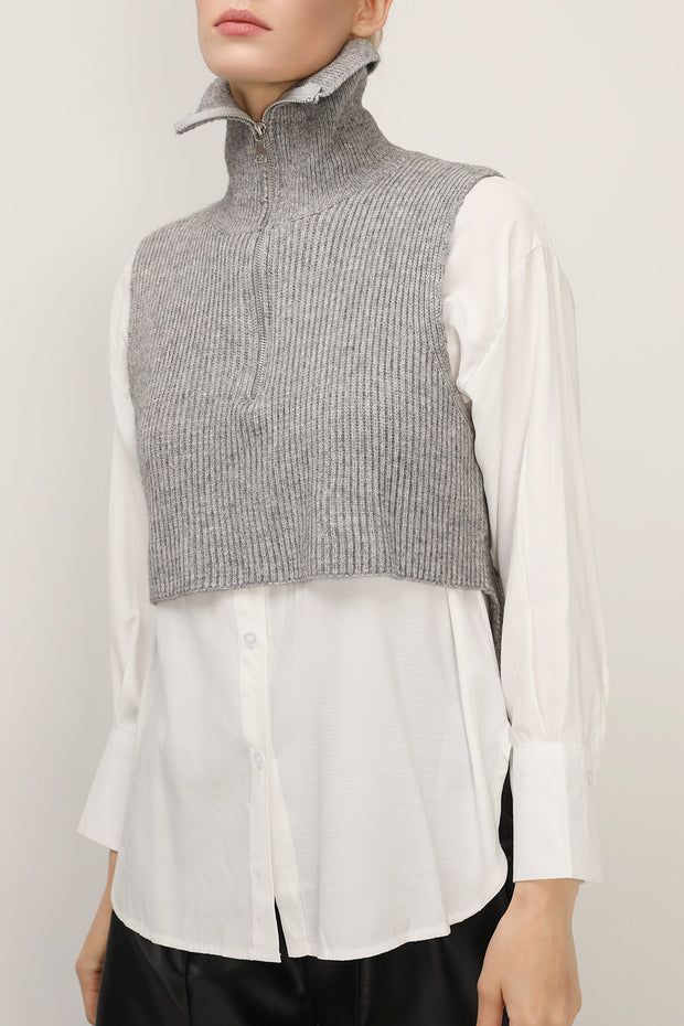 storets.com Stella Crop Knit Vest And Shirt Set