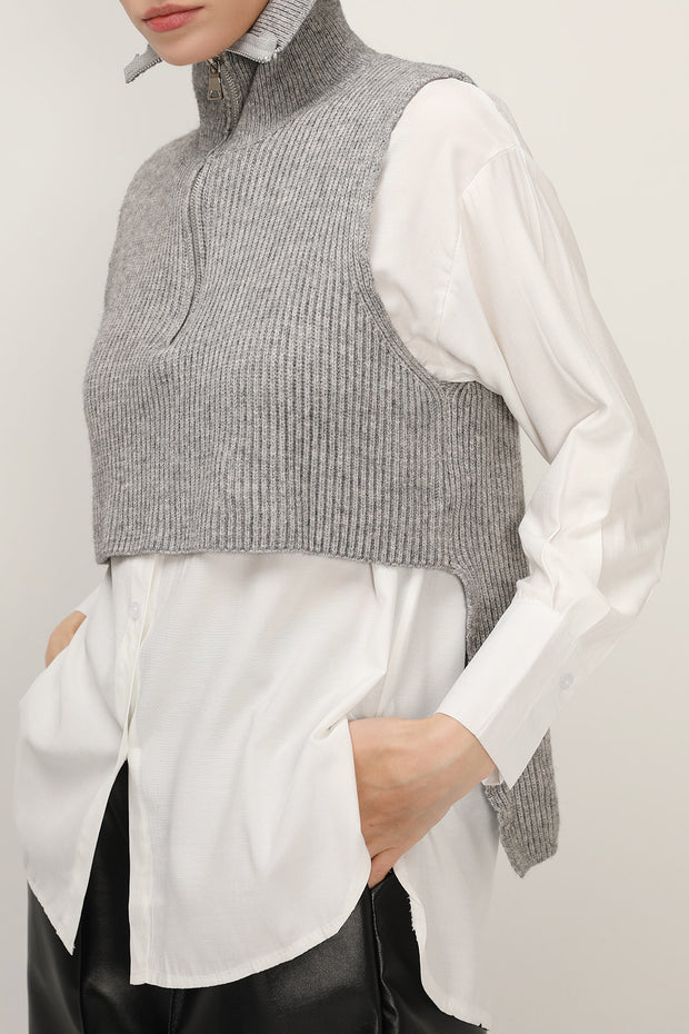 Stella Crop Knit Vest And Shirt Set