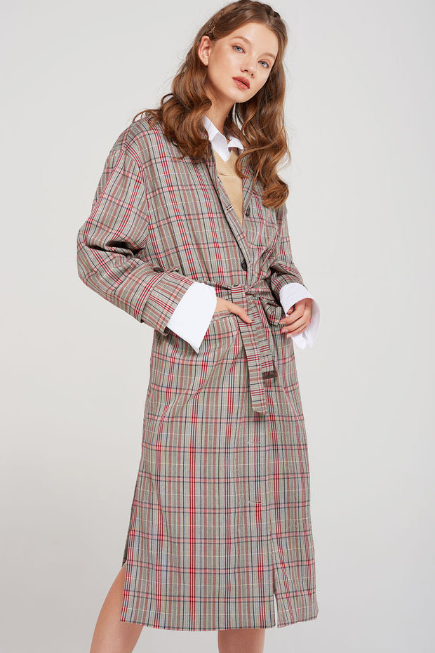 Charlie Plaid Slit Coat-2 Colors