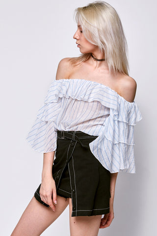 Sandy Stripe Ruffle Top