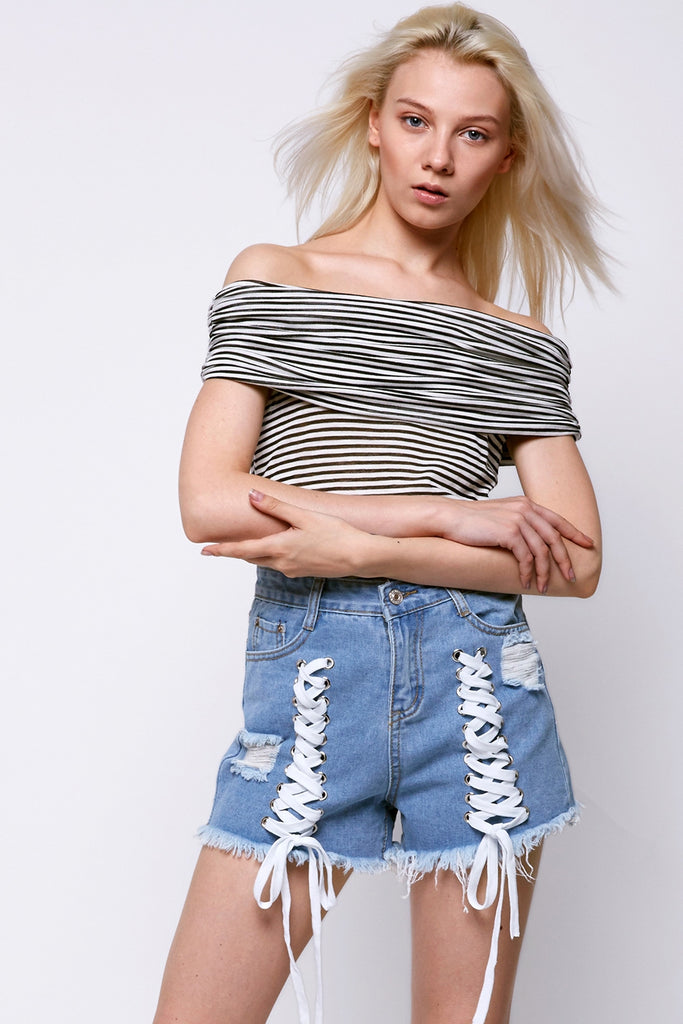 Voa Strappy Denim Shorts