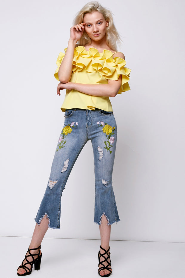 Hailey Flower Embroidery Jeans