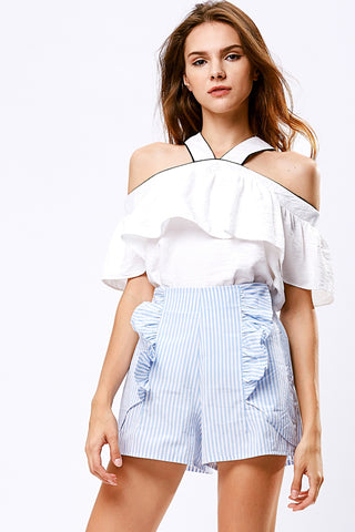 Miranda Striped Ruffle Shorts