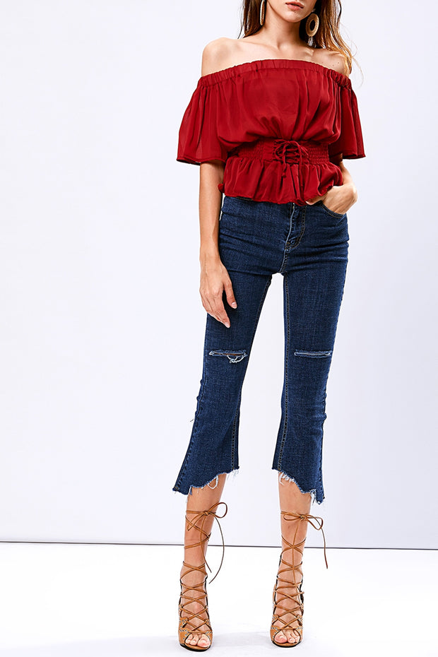 storets.com Emmy unbalanced Cut out jeans