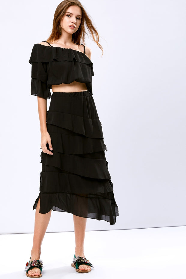 Demi Tiered Ruffle Two-piece Set