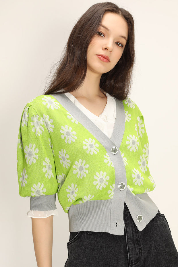 Kathleen Floral Puffed Cardigan