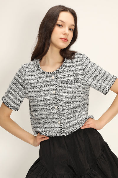 storets.com Florence Jewel Button Tweed Jacket