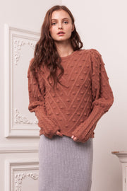 [DOUBLE ICON] LOVEBIRDS PULLOVER KNIT SWEATER -BRICK