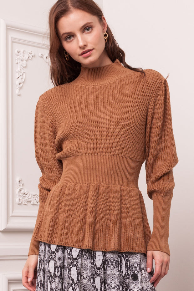 [DOUBLE ICON] HONEY SPICE PEPLUM KNIT SWEATER TOP - ALMOND