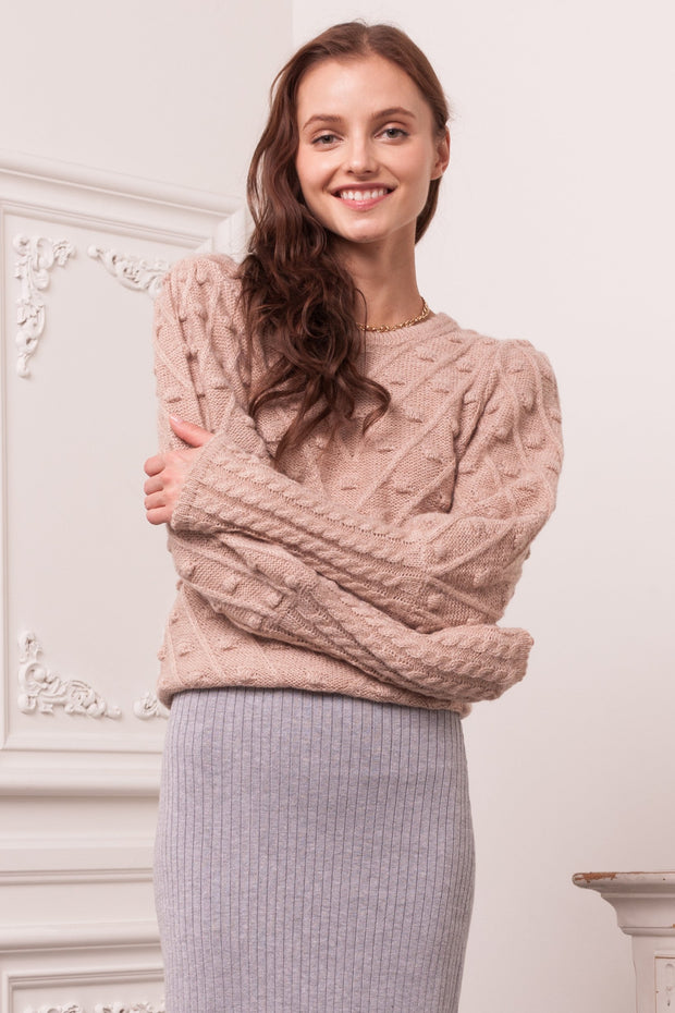 [DOUBLE ICON] LOVEBIRDS PULLOVER KNIT SWEATER -MAUVE