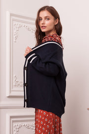 [DOUBLE ICON] VARSITY IN CHECK CARDIGAN - DARK NAVY