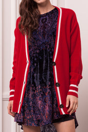 DOUBLE ICON - VARSITY IN CHECK CARDIGAN - RED - Shop Double Icon