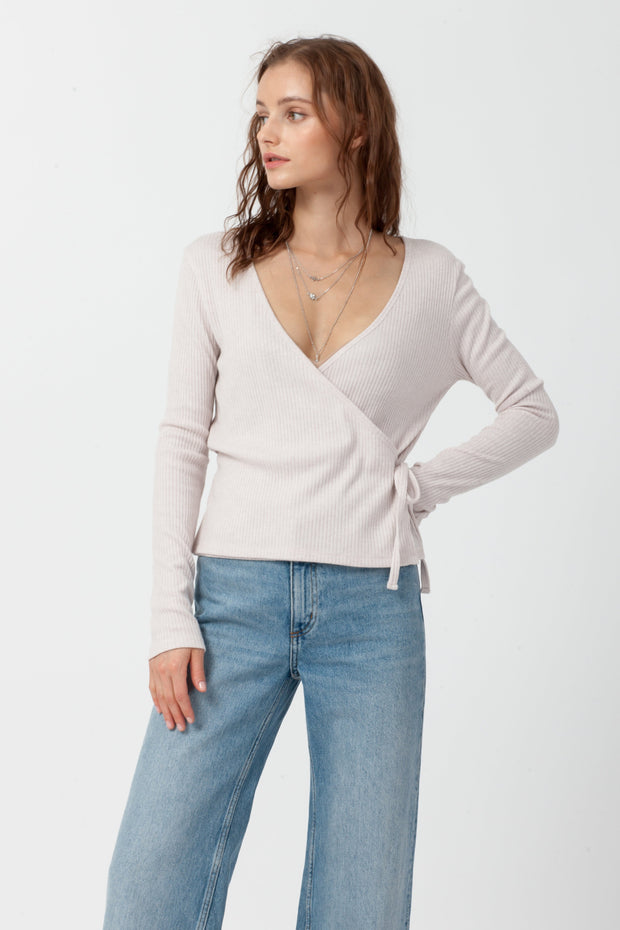 [DOUBLE ICON] EMERY WRAP FRONT TOP - SOFT PINK