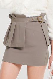 Izabel Wide Pleats Belted Skirt