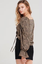 Carlie Ruched Print Blouse