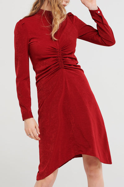 Anna Shirred High Neck Dress