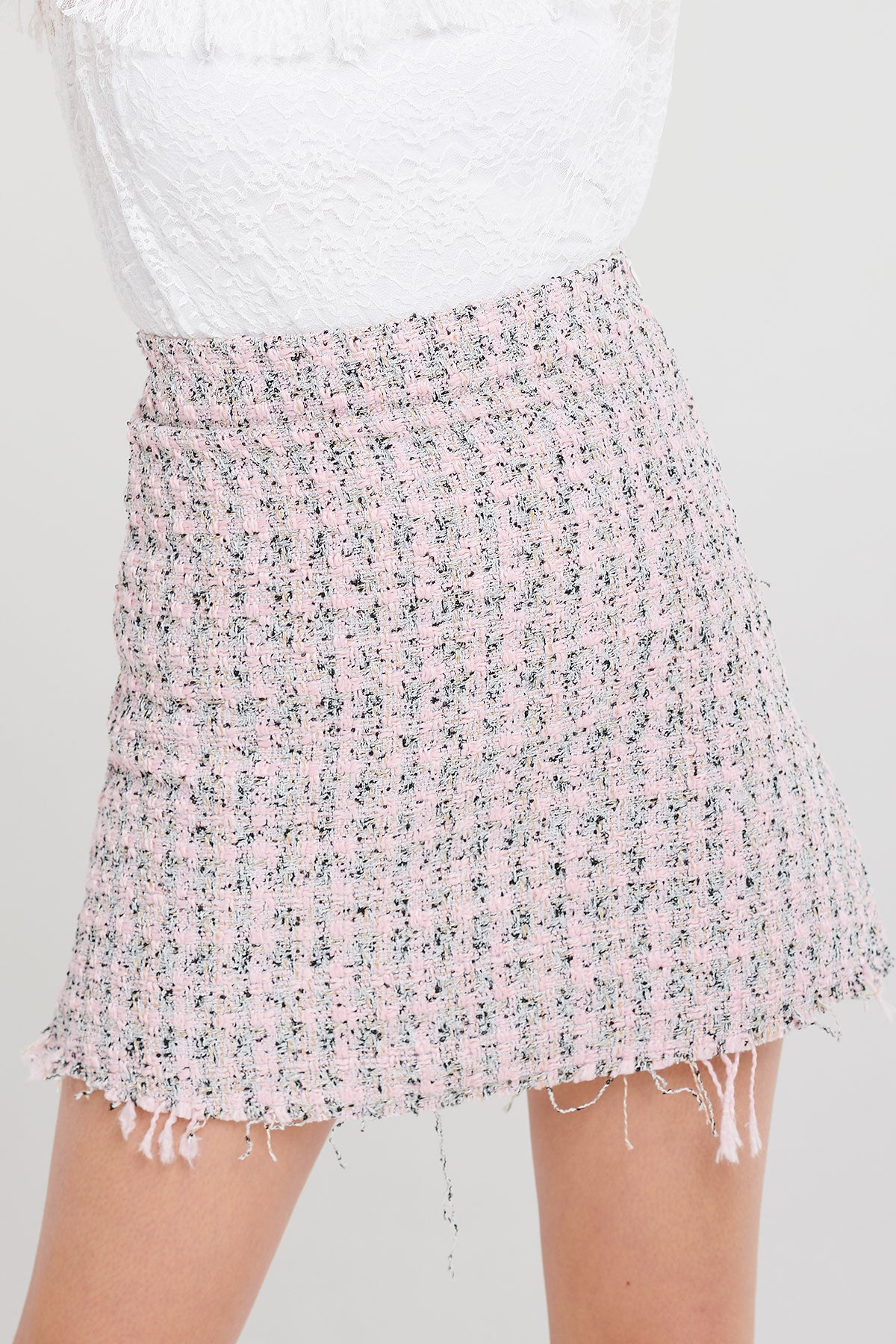Jessie Raw Edge Tweed Skirt-2 Colors