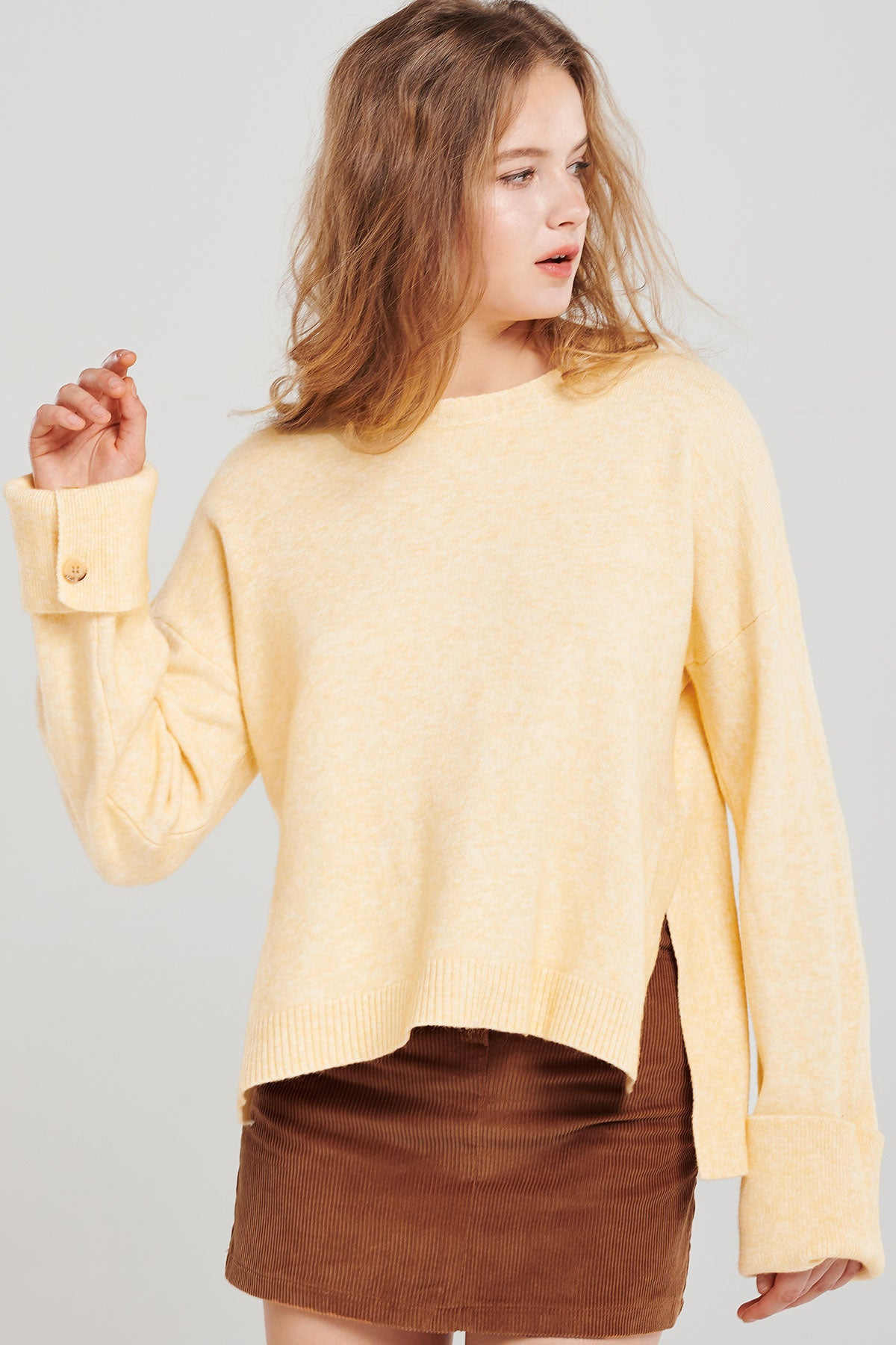 Rachel Button Cuff Sweater
