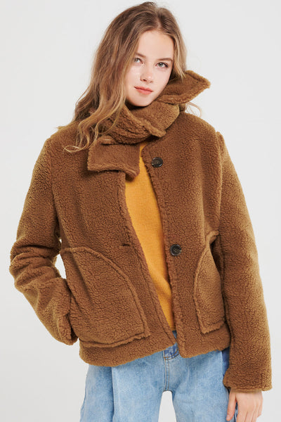 storets.com Perry Fuzzy Jacket With Muffler