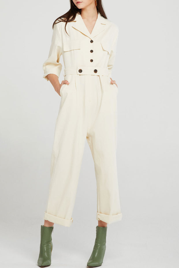 Jade Button Detail Jumpsuit
