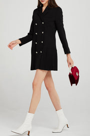 Alexa Pleated Hem Blazer Dress w/Belt
