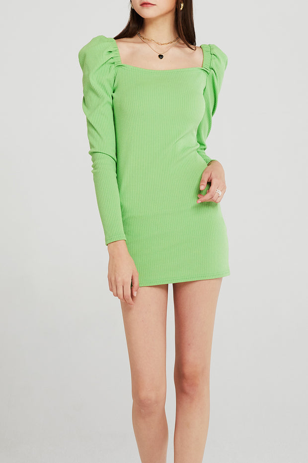 Alice Puff Sleeve Rib Mini Dress