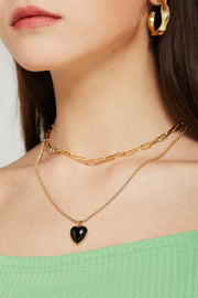 Black Heart Layered Necklace