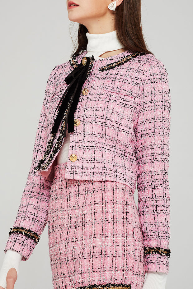 storets.com Kate Cropped Tweed Jacket w/Brooch