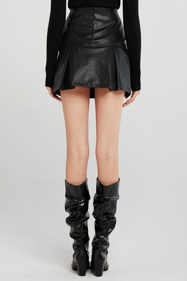 Gia Pleated Hem Pleather Skirt