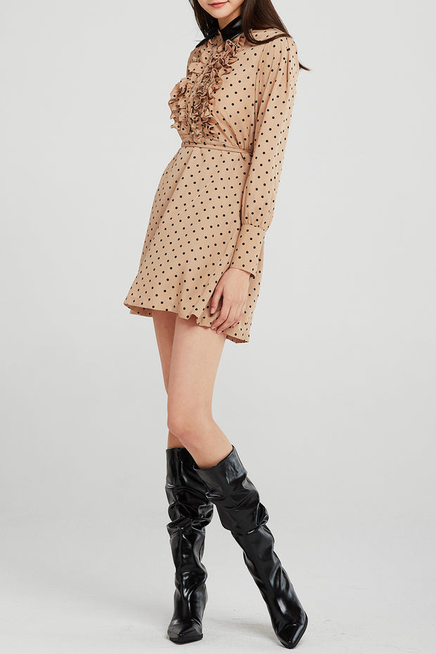Allen Dotted Pleather Collar Dress