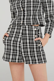 Jane Pearl Embellished Plaid Shorts