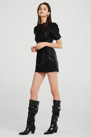 storets.com Melody Puff Sleeve Pleather Dress