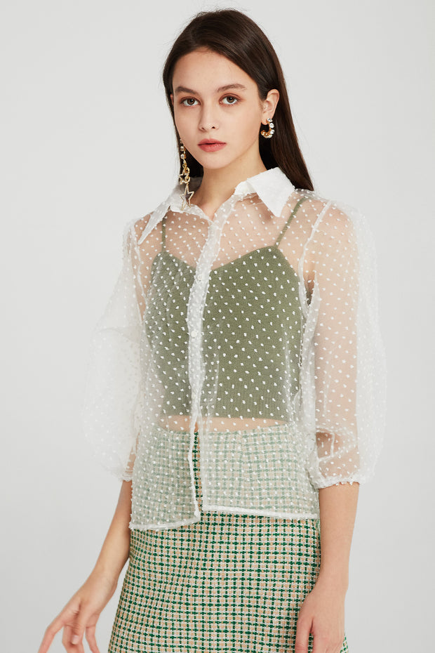 Avery Polka Dot See-thru Blouse