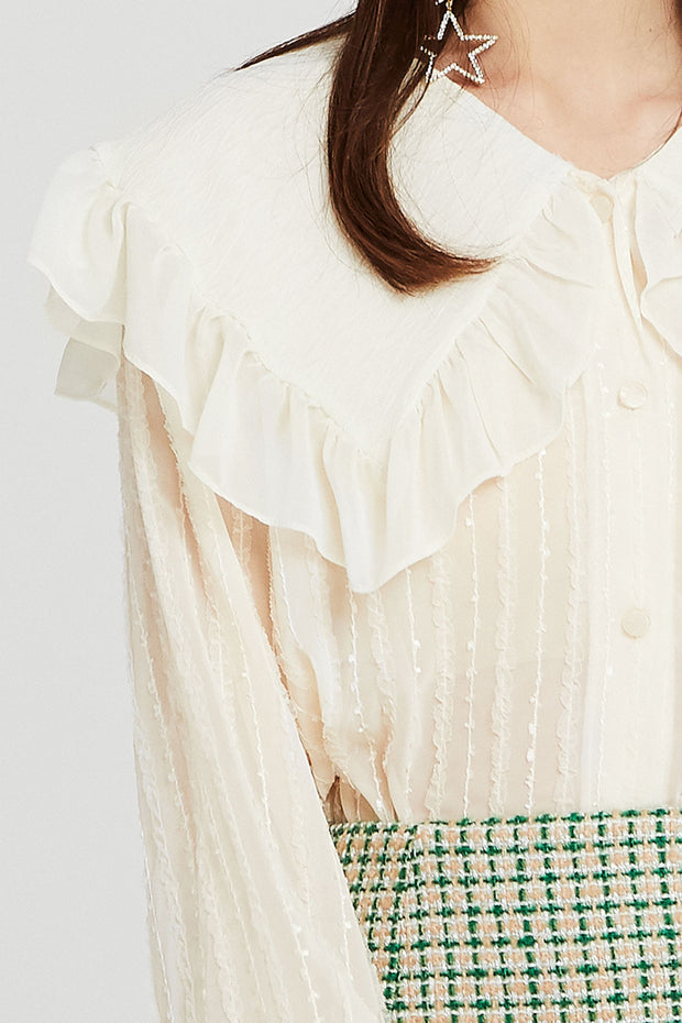 Claire Ruffled Puritan Collar Blouse