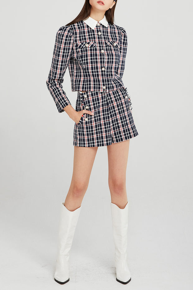 Jane Contrast Collar Plaid Jacket