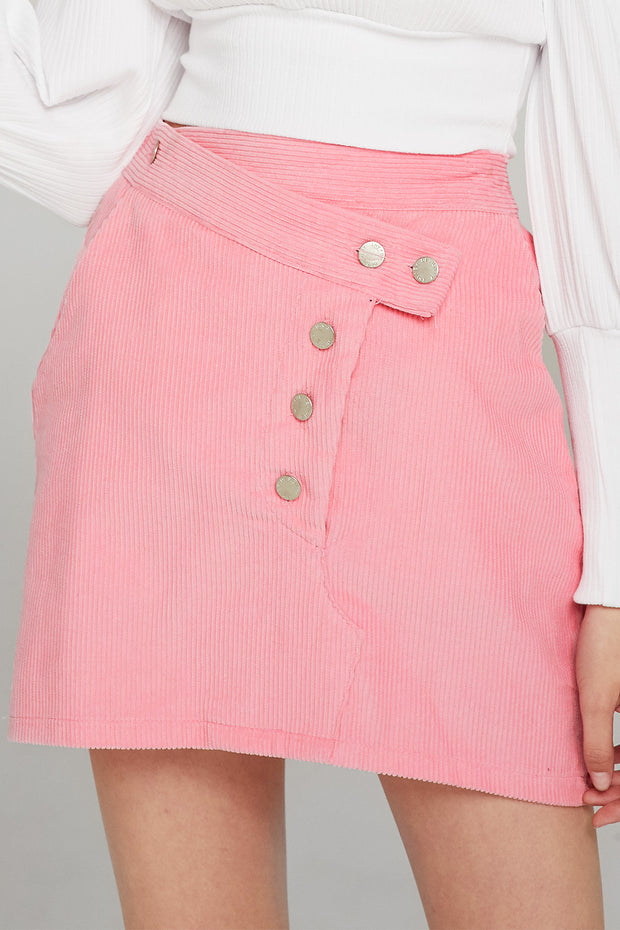 Lexi Asymmetric Button Cord Skirt