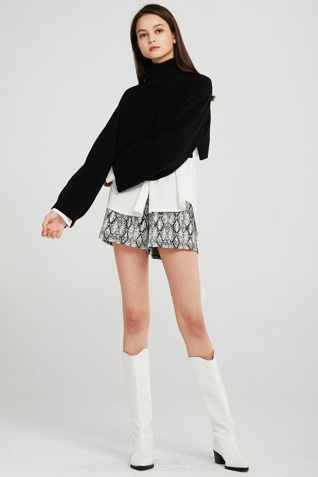 storets.com Skyler Cropped Knit Turtleneck Sweater