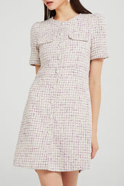 Hazel Pearl Button Tweed Dress