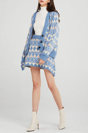 Brianna Argyle Print Knit 2-Piece Set