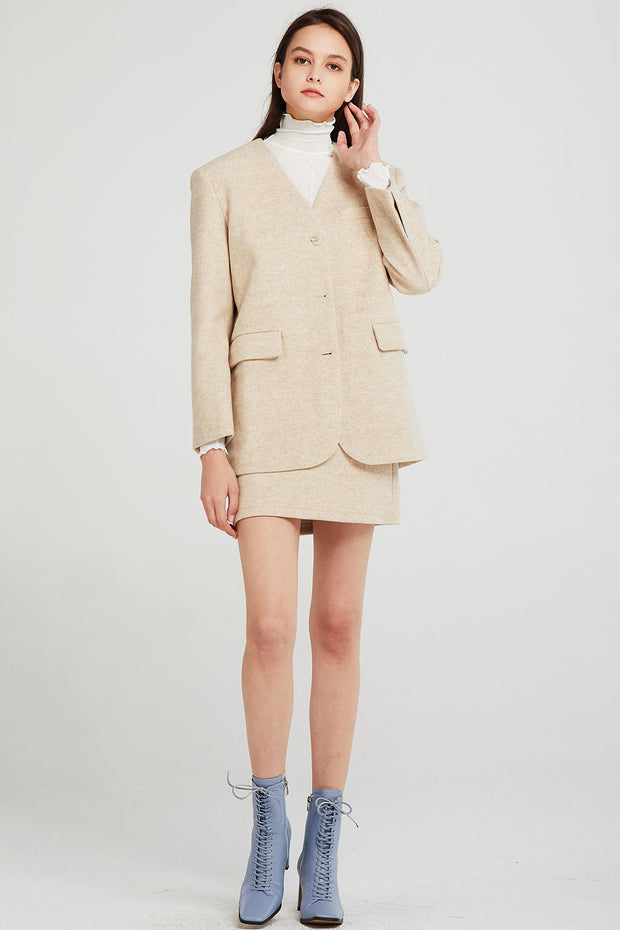 Esther Collarless Oversized Jacket