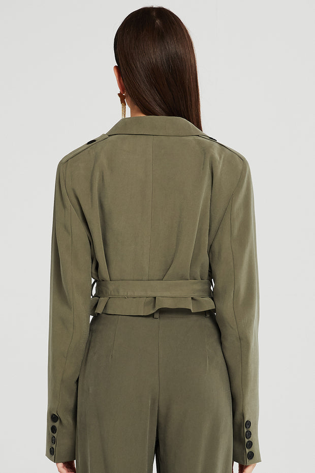 Elle Utility Cropped Jacket w/Belt
