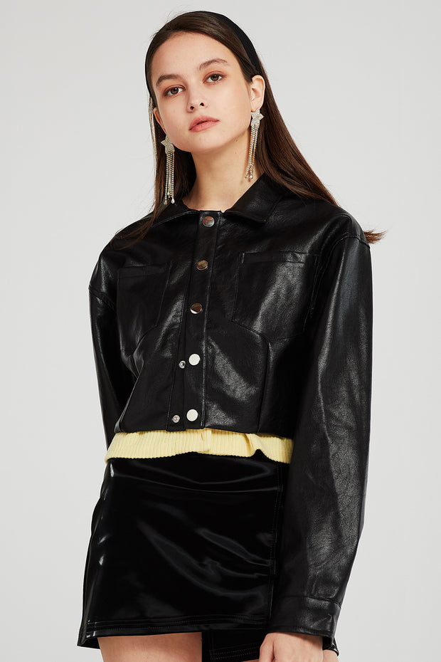 June Cropped Pleather Jacket