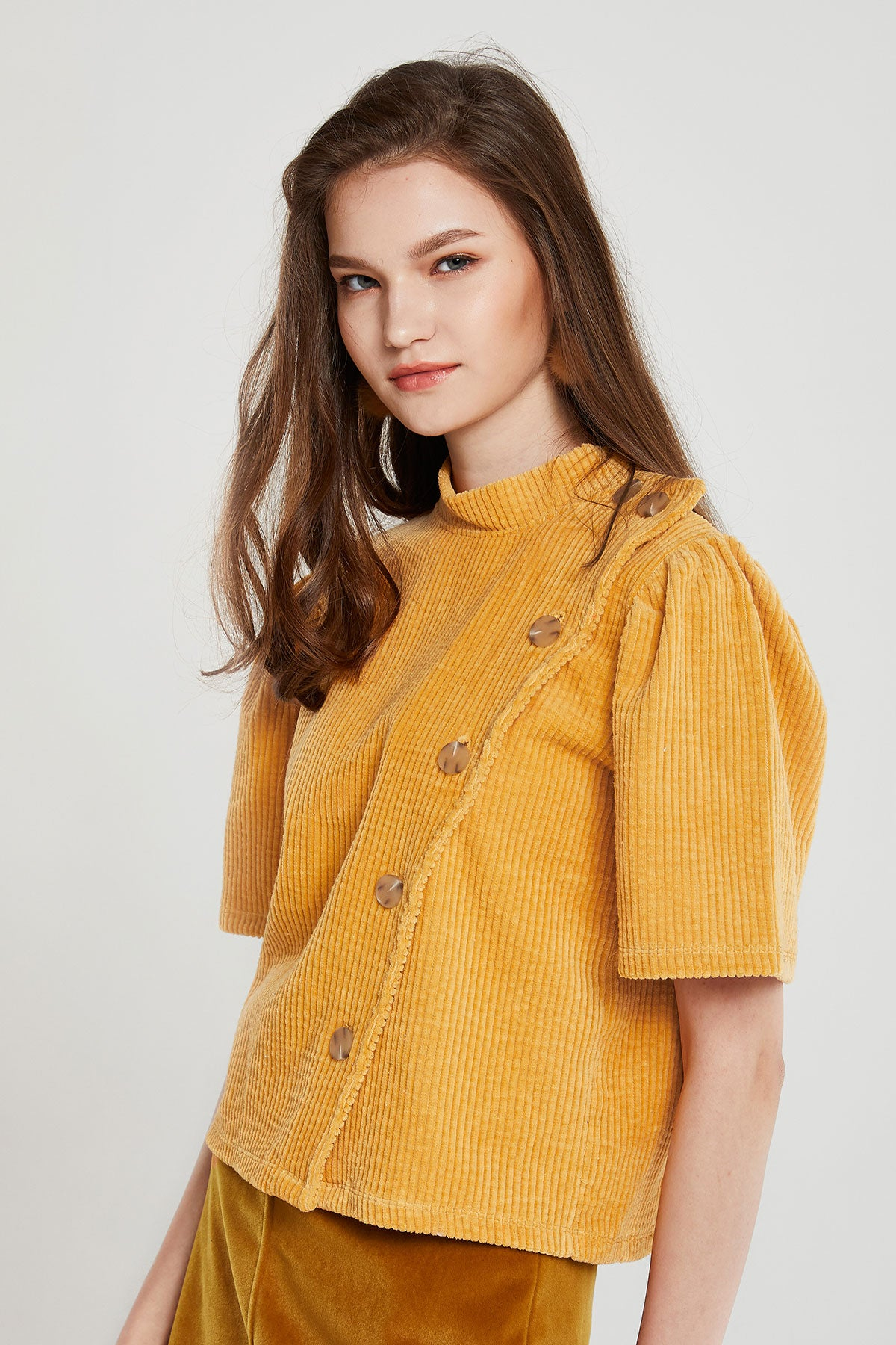 Erina Buttoned Corduroy Top