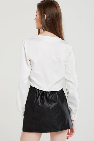 Susanna Zippered Pleather Skirt