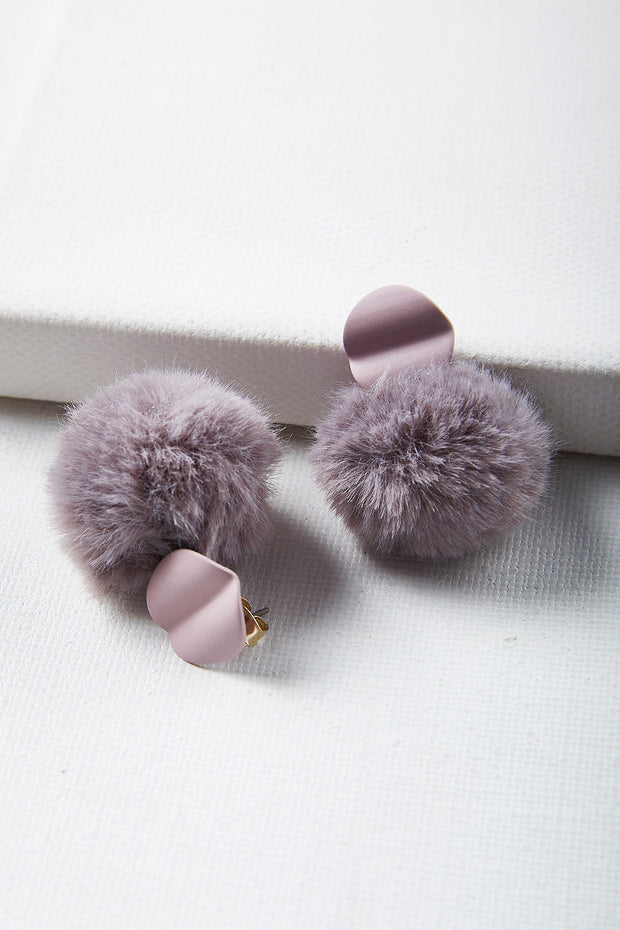 Lavender And Puff Earrings